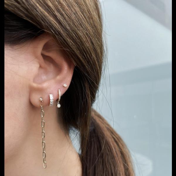 EF COLLECTION DIAMOND MINI HUGGIE WITH DIAMOND BEZEL DROP EARRINGS