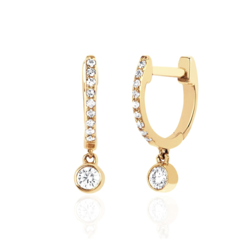 EF COLLECTION EF COLLECTION DIAMOND MINI HUGGIE WITH DIAMOND BEZEL DROP EARRINGS