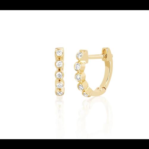 EF COLLECTION EF COLLECTION MINI DIAMOND BEZEL HUGGIE EARRING