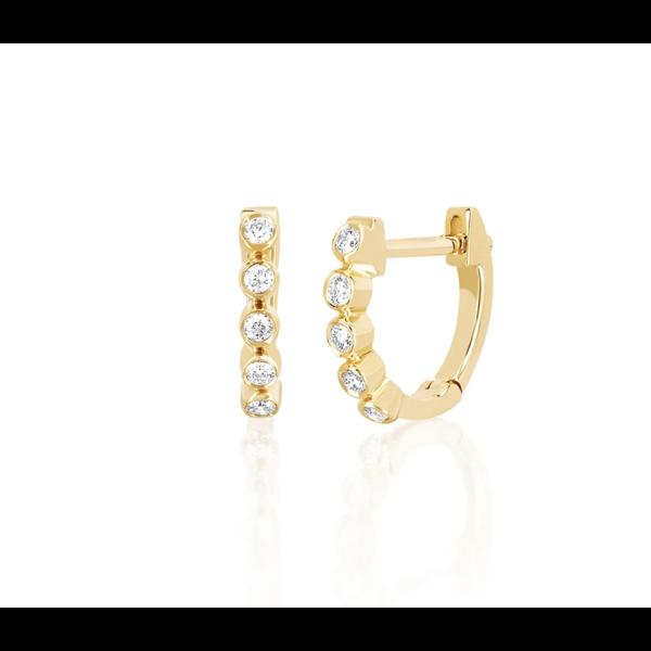 EF COLLECTION MINI DIAMOND BEZEL HUGGIE EARRING