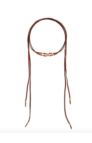 CHAN LUU CHAN LUU ROSE GOLD AGATE SADDLE ADJUSTABLE LEATHER CHOKER