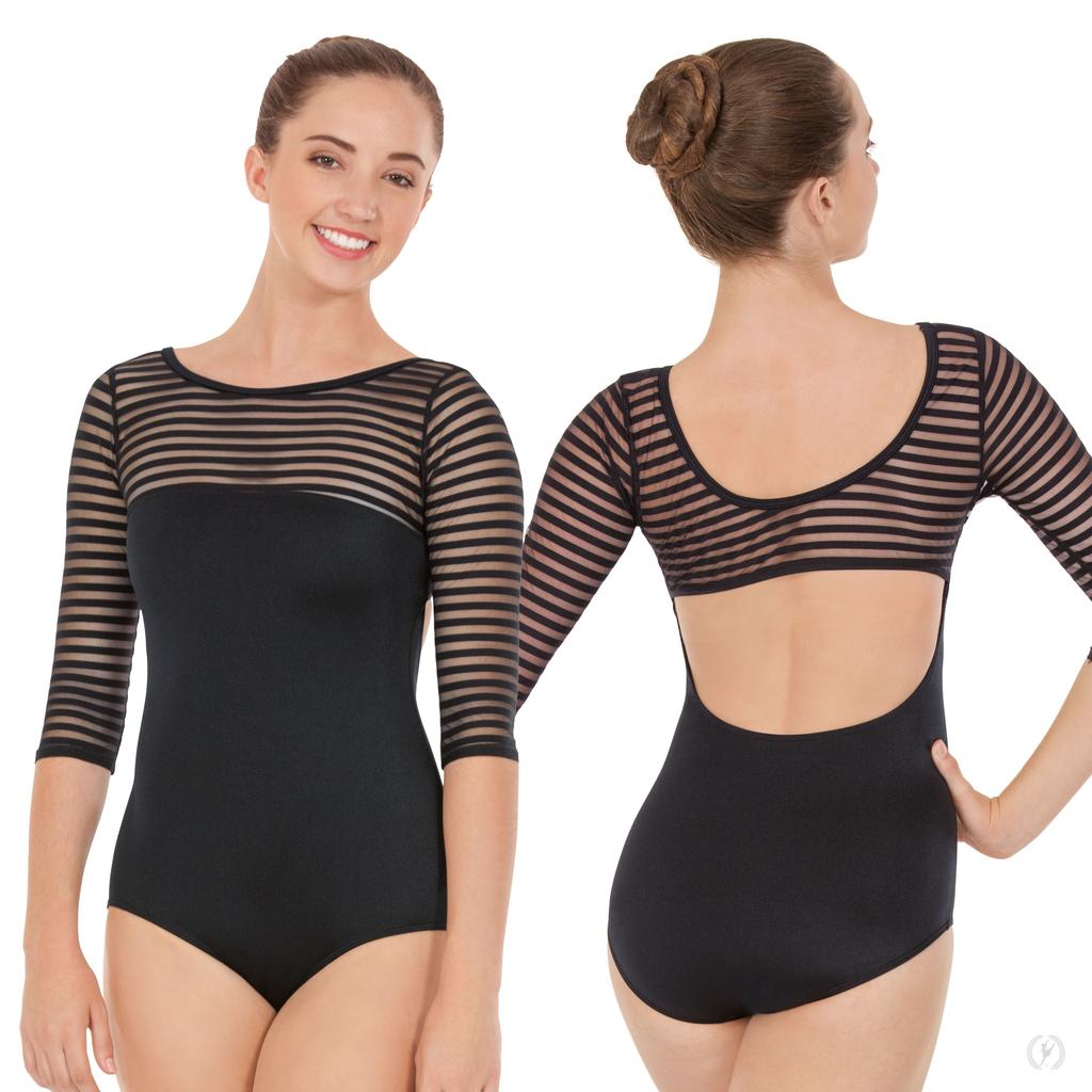 Womens Striped Mesh 3/4 Sleeve