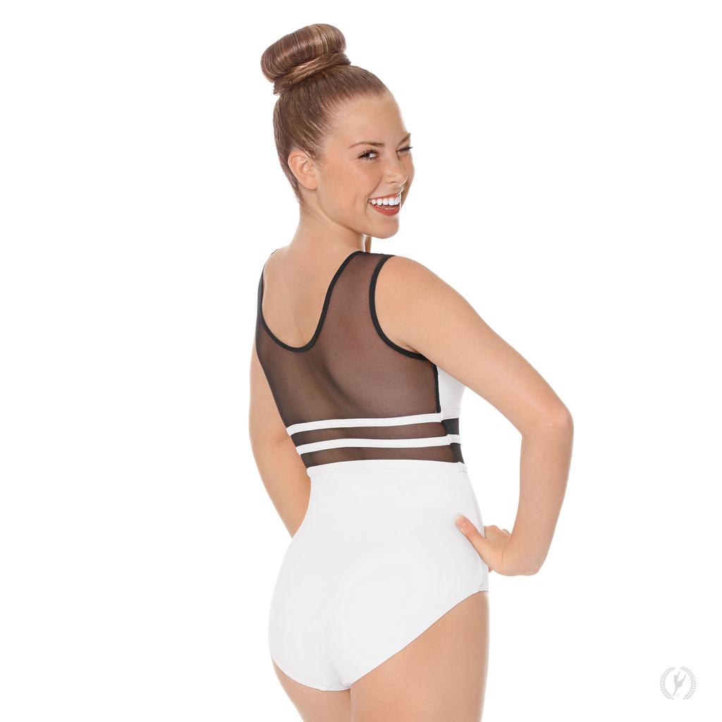 Womens Striped Mesh Bodysuit