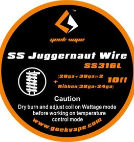 Geek Vape GEEK VAPE 10ft Kanthal A1 Juggernaut Wire, 28ga + 38ga x 2 + Ribbon 38ga x 24ga