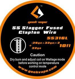 Geek Vape GEEK VAPE 10ft SS (316L) Stagger Fused Clapton Wire 26ga + 32ga x 2 +32ga