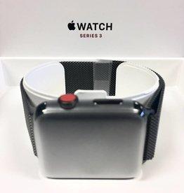 Mint in Box 4G/Cellular - Stainless Steel Apple Watch Series 3 - 42mm - Black Milanese Loop
