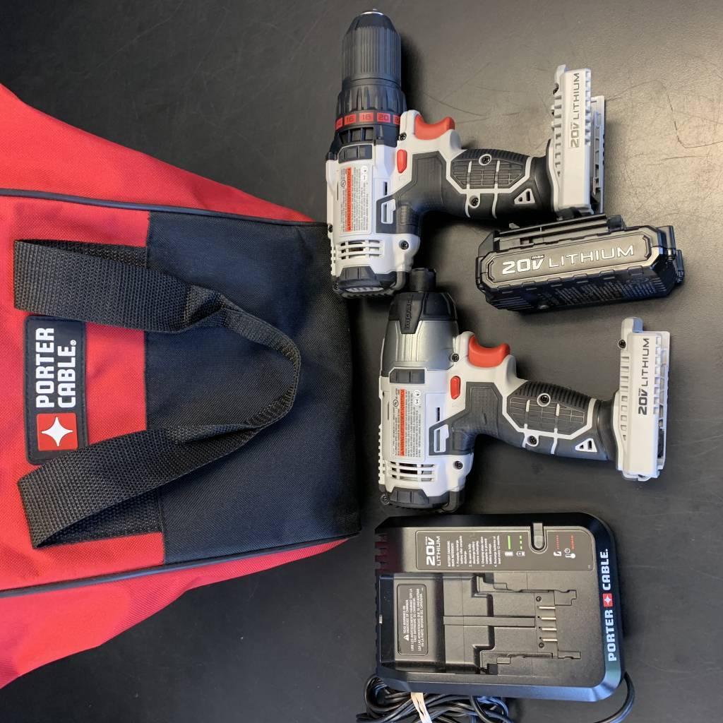 Porter Cable Drill & Driver Kit 20V Cordless PCC601 PCC641