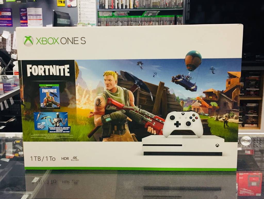 Microsoft Xbox One S 1TB Fortnite Console Bundle White w/ V-bucks