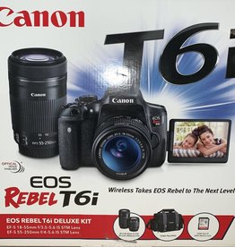 MINT IN BOX! Canon EOS Rebel T6i Deluxe Kit w/ 18-55mm + 55-250mm +32GB!