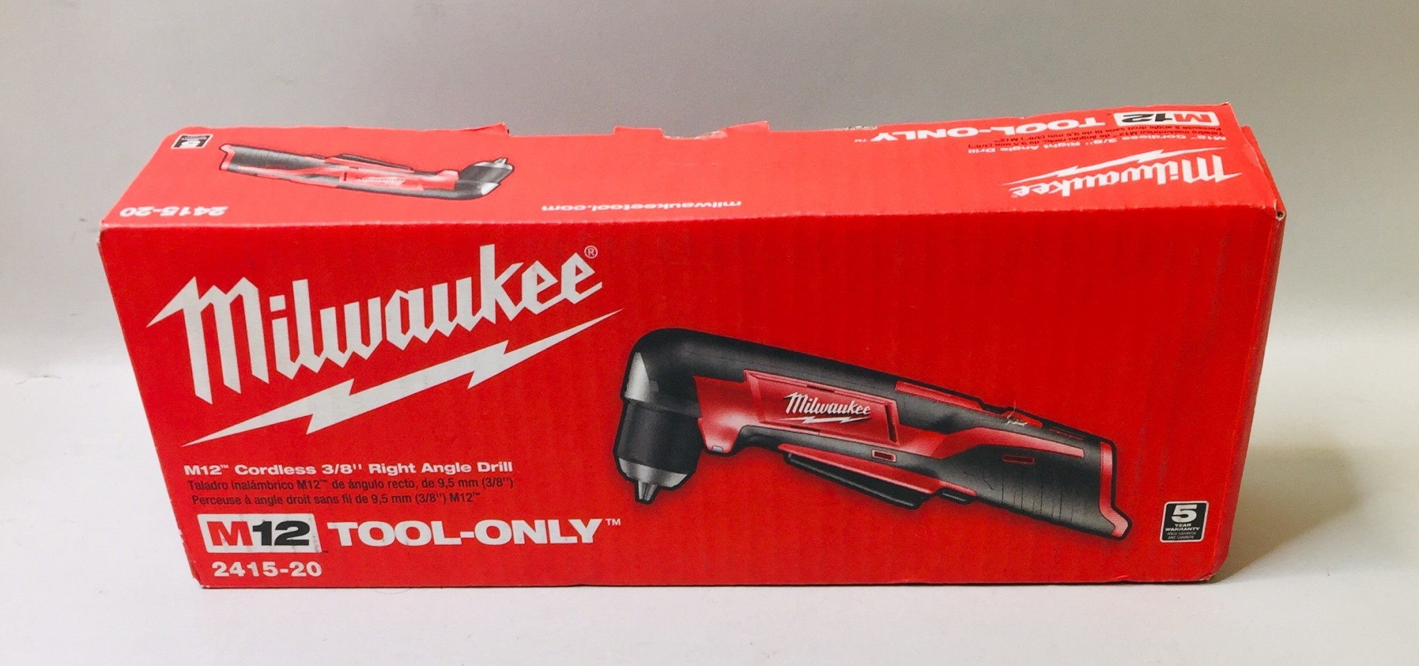 "NEW Milwaukee M12 Cordless 3/8"" Right Angel Drill - 2415-20 - (Tool Only)"