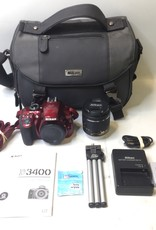 Nikon 3400 24.2MP Digital SLR Camera Kit - Red - W/ Nikon DX-VR 15-55mm & Extras