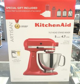 New - KitchenAid Artisan 5Qt. Mixer w/ Fresh Shredder Kit - Red - KSM150FBER