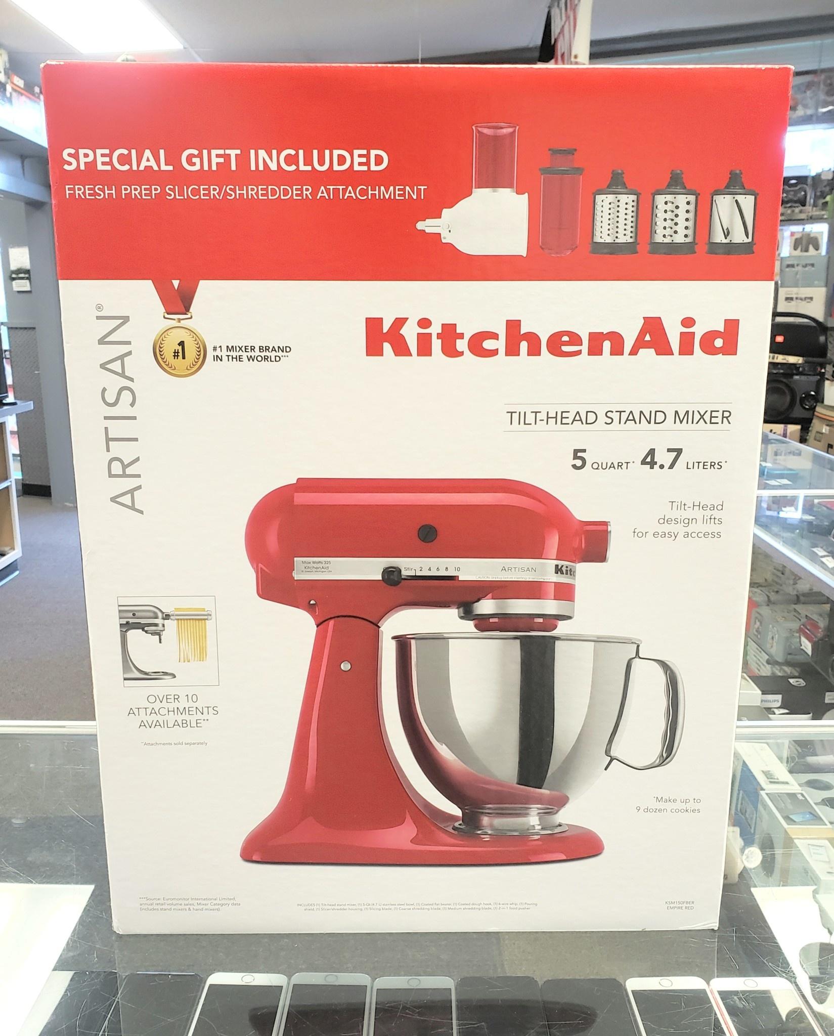 New - KitchenAid Artisan 5Qt. Mixer w/ Fresh Shredder Kit - Red - KSM150FBER