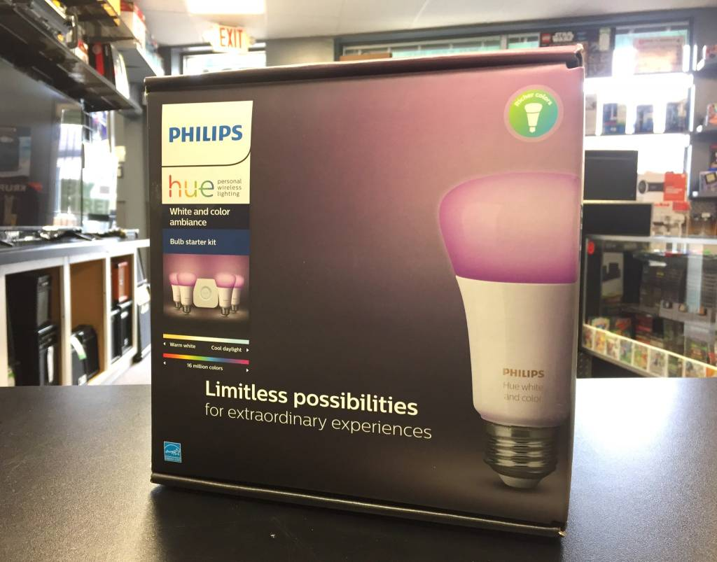 Philips Hue White and Color Ambiance Smart Lighting 4 Bulb Kit