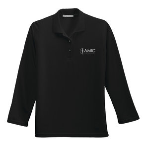 Port Authority Port Authority Ladies Silk Touch Long Sleeve Polo (Black)