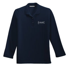 Port Authority Port Authority Ladies Silk Touch Long Sleeve Polo (Navy)