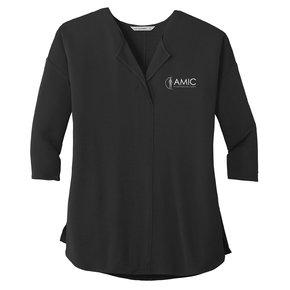 Port Authority Port Authority Ladies Concept 3/4 Sleeve Soft Split Neck Top (Black)