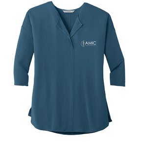 Port Authority Port Authority Ladies Concept 3/4-Sleeve Soft Split Neck Top (Dusty Blue)