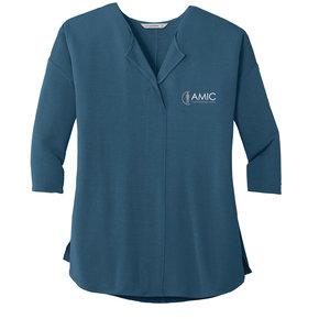 Port Authority Port Authority Ladies Concept 3/4-Sleeve Soft Split Neck Top (Dusty Blue)