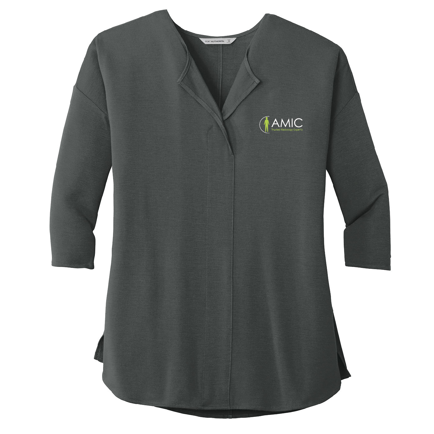 Port Authority Port Authority Ladies Concept 3/4-Sleeve Soft Split Neck Top (Grey Smoke)