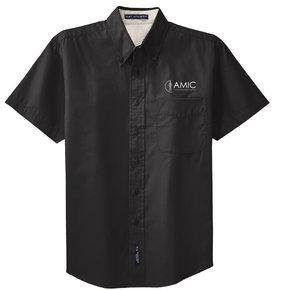 Port Authority Port Authority Short Sleeve Easy Care Shirt (Black/Light Stone)