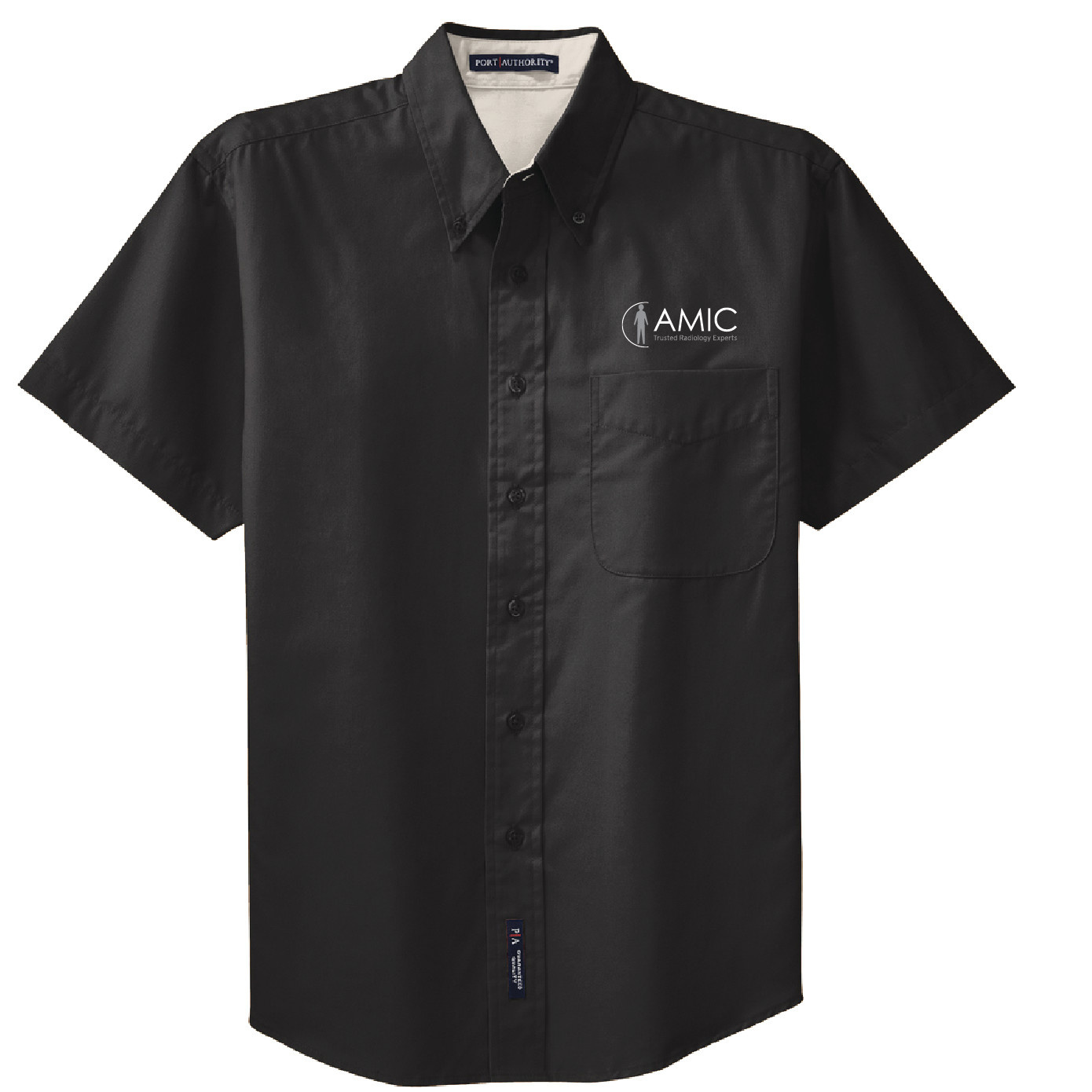 Port Authority Port Authority Short Sleeve Easy Care Shirt (Black/Light Stone)