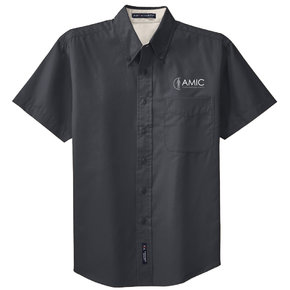 Port Authority Port Authority Short Sleeve Easy Care Shirt (Classic Navy/Light Stone)