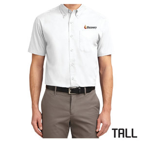 Port Authority TALL Short Sleeve Easy Care Shirt (White)