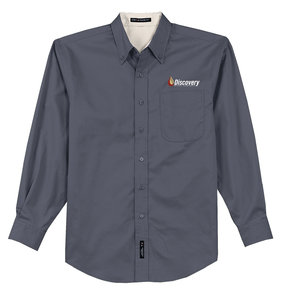 Port Authority Long Sleeve Easy Care Shirt (Steel Grey/Light Stone)