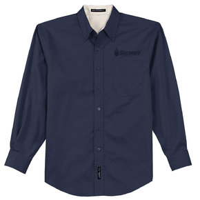 Port Authority Long Sleeve Easy Care Shirt (Navy/Light Stone)