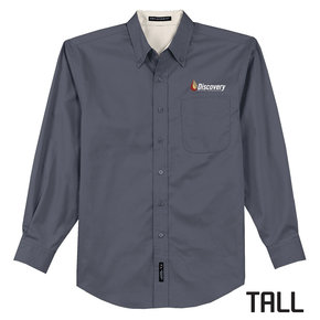 Port Authority TALL Long Sleeve Easy Care Shirt (Steel Grey)
