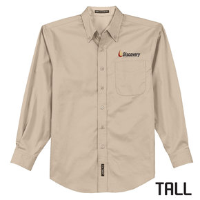 Port Authority TALL Long Sleeve Easy Care Shirt (Stone)