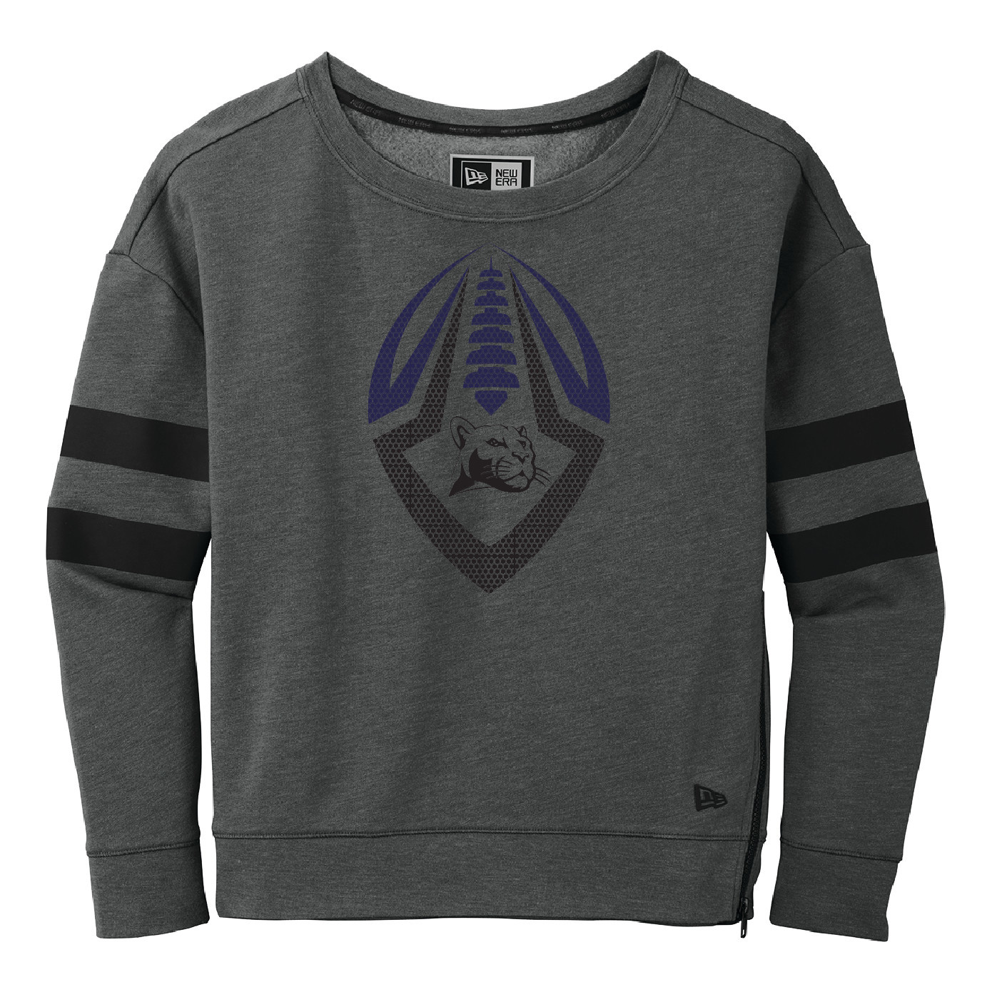 New Era Ladies Tri- Blend Fleece Varsity Crew (Black Heather)
