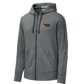 Sport Tek Sport-Tek PosiCharge Tri-Blend Wicking Fleece Full-Zip Hooded Jacket (Dark Grey Heather)