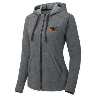 Sport Tek Sport-Tek Ladies PosiCharge Tri-Blend Wicking Fleece Full-Zip Hooded Jacket (Dark Grey Heather)