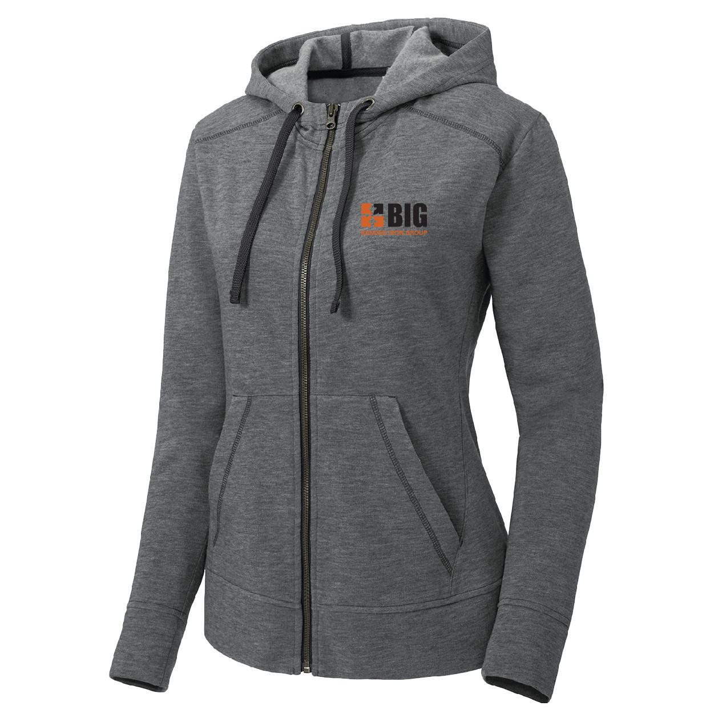 Sport Tek Sport-Tek Ladies PosiCharge Tri-Blend Wicking Fleece Full-Zip Hooded Jacket (Dark Grey Heather)