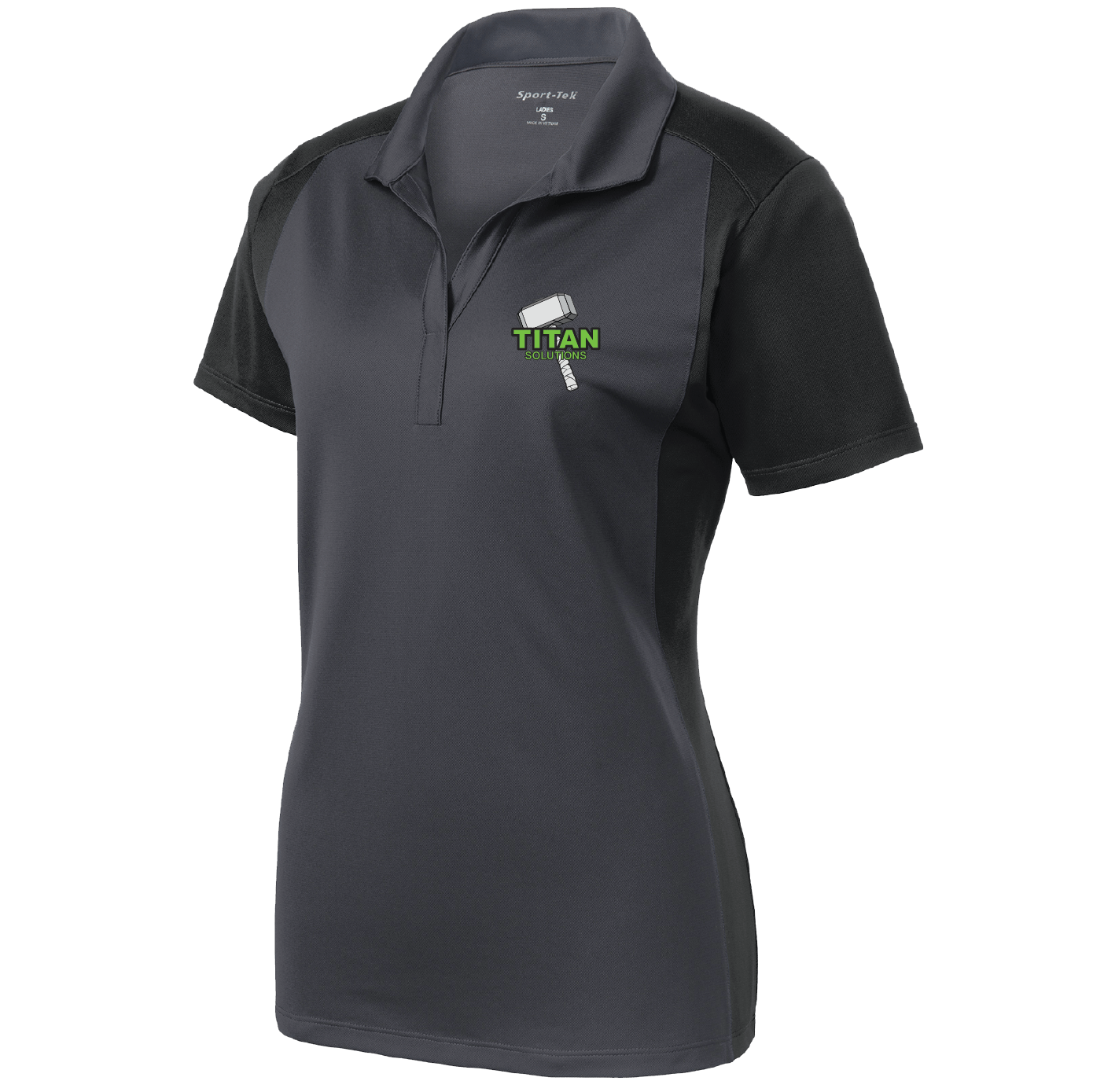Sport Tek Sport Tek Ladies Colorblock Micropique Sport Wick Polo (Iron Grey/Black)
