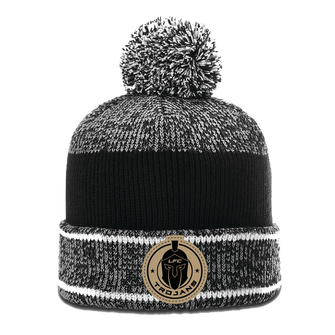 Richardson Heathered Beanie w/Cuff &Pom (Grey/White/Black)