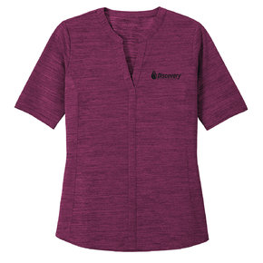 Port Authority Port Authority Ladies Stretch Heather Open Neck Top (Violet Purple/Black)