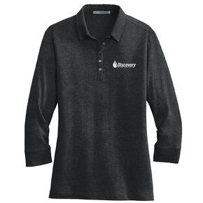 Port Authority Port Authority Ladies 3/4-Sleeve Meridian Cotton Blend Polo (Black)