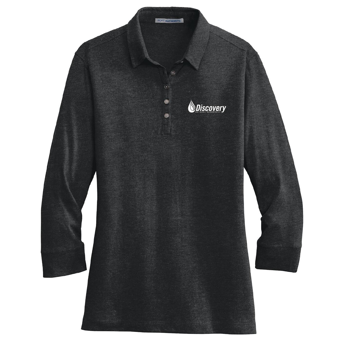 Port Authority Port Authority Ladies 3/4-Sleeve Meridian Cotton Blend Polo (Black)