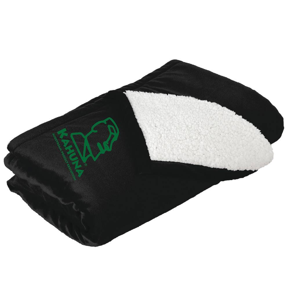 Port Authority Port Authority® Mountain Lodge Blanket ( Black W/Green logo)
