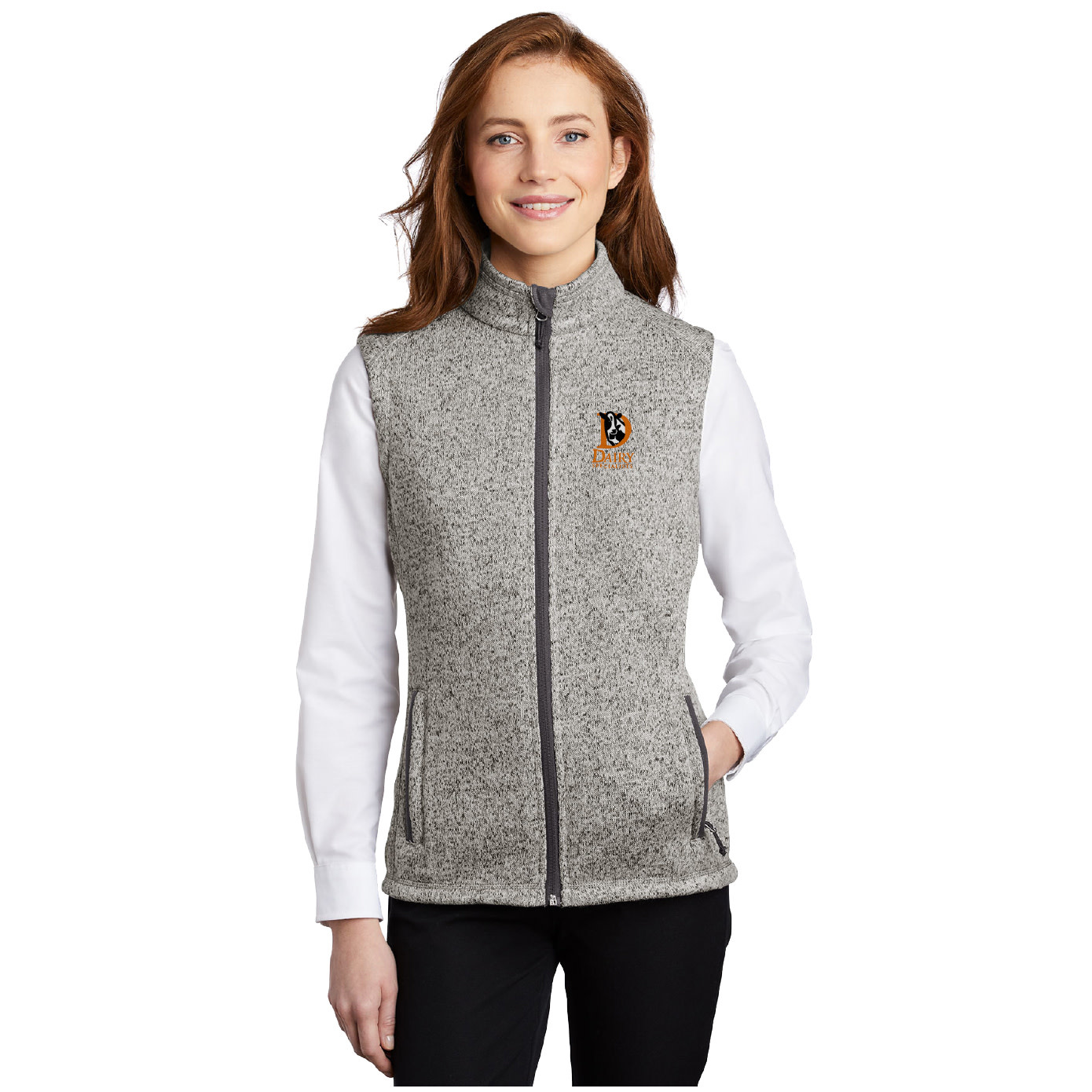 Port Authority Port Authority Ladies Sweater Fleece Vest (Grey Heather)