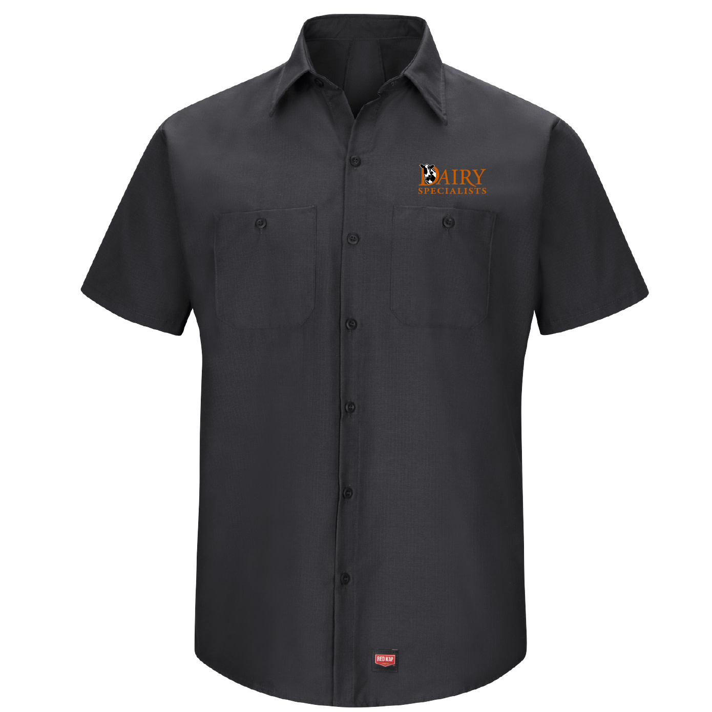 Red Cap Red Cap Men's Short Sleeve Work Shirt With Mimix (Black)
