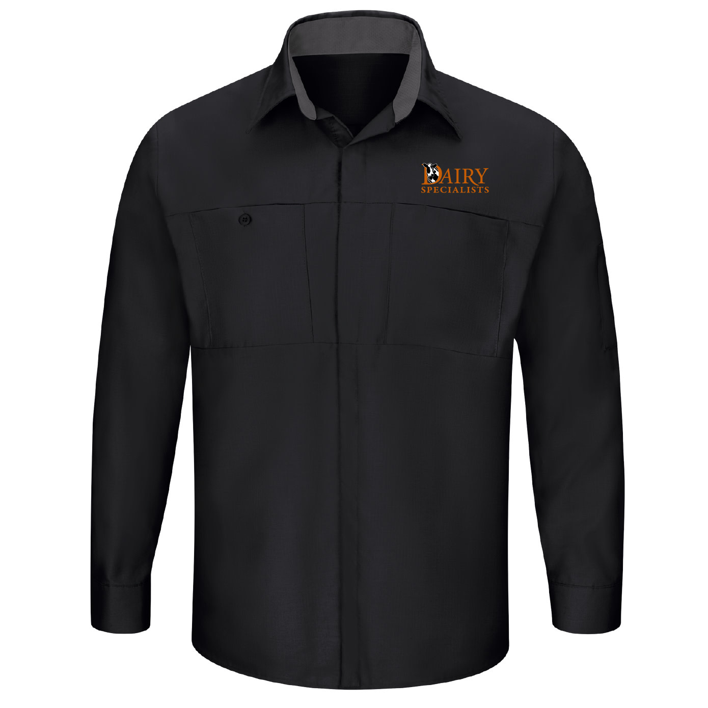 Red Cap Red Cap Men's Long Sleeve Performance Plus Shop Shirt With OilBlok Technology (Black/Charcoal)