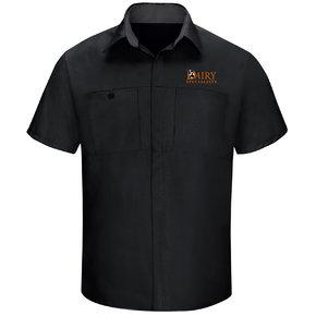 Red Cap Red Cap Men's Short Sleeve Performance Plus Shop Shirt With OilBlok Technology (Black/Charcoal Mesh)