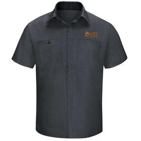 Red Cap Red Cap Men's Short Sleeve Performance Plus Shop Shirt With OilBlok Technology (Charcoal/Black Mesh)