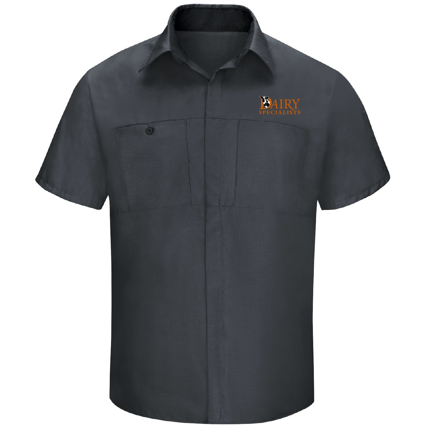 Red Cap Red Cap Men's Short Sleeve Performance Plus Shop Shirt With OilBlok Technology (Charcoal/Black Mesh)
