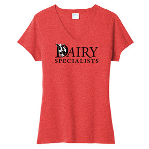 Port Authority Port & Company Ladies Tri-Blend V-Neck Tee (Bright Red Heather)