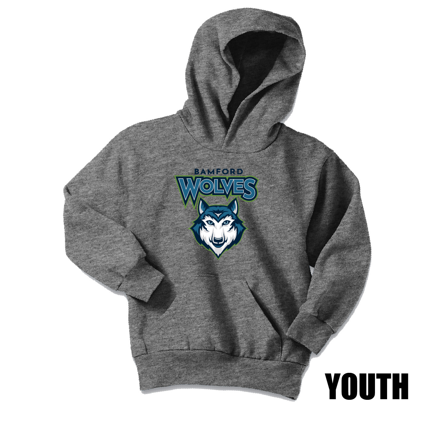 Port Authority Port & Company Youth Core Fleece Pullover Hooded Sweatshirt (Graphite Heather)